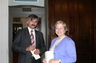 Susan with President of Wraslaw Rotary (Poland) after a speach about international travel with Rotary.