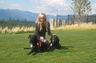 Donna, with her beloved dogs, Saska and Ayla, at a legal seminar in Cle Elum, WA, on a warm September day. (September 2011).
