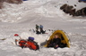 Putting on my boots at Ingraham Flats,1,000 feet above Camp Muir, getting ready to ascend Mt. Rainier.