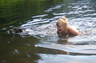 Swimming with Saska in a remote Cascade mountain lake after a long, hot and steep climb. (July 2012).
