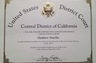 Certificate of Admission to the U.S. Federal District Court Bar - Central District of California