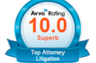 10.0 Superb rating (highest possible) by Avvo which considers an attorney's disciplinary history, years in practice, professional achievements and industry recognition.