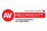 AV Preeminent (highest possible) peer review rating for ethical standards and legal knowledge by Martindale-Hubbell