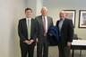 """John Hadden, Emmett Bondurant, and Chris Abrego following """"War Stories"""" Lecture"""