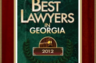 Award received in November of 2012 from American Registry, for being one of Georgia's Best Lawyers.