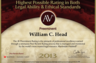Martindale-Hubbell Preeminent 2013 - Highest Rating possible from America's oldest attorney listing provider.
