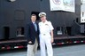 Joe Jaap in front of USS Submarine Cincinnati with Captain Rex Settlemoir.