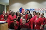 Wearing red in support of the American Heart Association