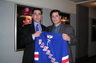 Michael V. Kaplen with New York Ranger Pat LaFontaine on brain injury awareness program