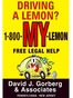 Montgomery County Lemon Law Attorney David J. Gorberg